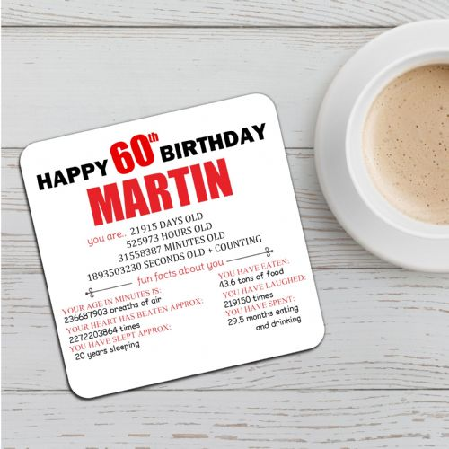 Personalised Happy 60th Birthday Drinks Coaster N52 Any Name